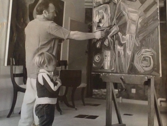 Dr Gerald Moore and his son painting